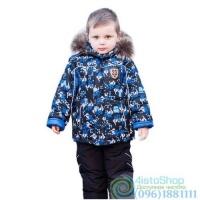 Зимний чёрный полукомбинезон и чёрная куртка с рисунком Скейтбординг рост от 92 до 110 см