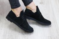 Туфли женские на шнурках черные