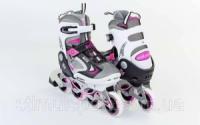 Роликовые коньки раздвижные  ZELART Z-636P (р-р 32-35, 36-39)  (PL, PVC, колесо PU, алюм. рама, розовый) escape:'html'