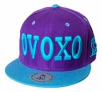 Бейсболка Хип Хоп (реперка) с прямым козырьком фиолетовая с голубым «OVOXO» (Овохо)|escape:'html'