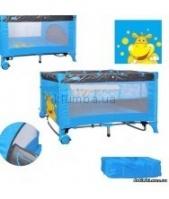 Манеж - кровать М 0818 , 2 колеса, качалка, двухуровневый голубой|escape:'html'