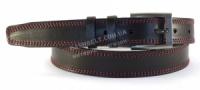Кожаный черный мужской ремень прошитый красными нитками классика 3,5 см.|escape:'html'