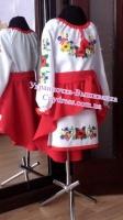 Украинское платье « Полевые цветы с колосками » 1007