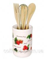 Подставка «Ягодка» для кухонных принадлежностей + деревянные лопатки и венчик
