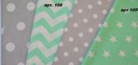 Ткань польская, 100% хлопок Арт №105 «Звезды белые на мятном« 125 плотность escape:'html'