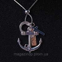 Подвеска на затяжном металлическом шнурке Якорь и крестик металлик Код:368128274