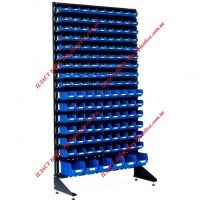 Метизный стеллаж - стойка с синими ящиками 141 шт