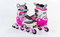 Роликовые коньки раздвижные  ZELART Z-432P (р-р 32-35, 36-39) (PL, PVC, колесо PU, алюм. рама, розовый)|escape:'html'