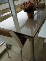 Стол стеклянный раскладной ТВ020 кофе с молоком 120/200*80*75см escape:'html'