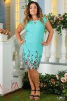 Льняное Платье Бирюзового Цвета С Вышивкой И Разрезом (Бирюза) 1232_4