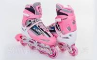 Роликовые коньки раздвижные KEPAI F1-S4-P (р-р S-30-33, M-34-37, L-38-41, PL, PVC, колесо PU, алюм. рама, розовый)|escape:'html'