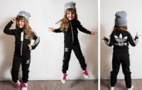 Детский классический спортивный костюм черный, р.104-160,