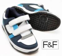 Кроссовки детские и подростковые на липучках белые-синие-голубые, бренд «F&F (Tesco)» (Англия)