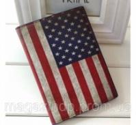 Кожаная обложка на паспорт Американский флаг Код:156-15518190
