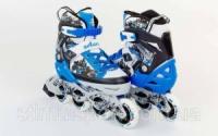 Роликовые коньки раздвижные  ZELART Z-098B (р-р 34-37, 38-41) (PL, PVC, колесо PU, алюм. рама, синий)|escape:'html'