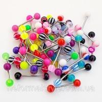 Украшения (цена за 5 шт.) для пирсинга языка из медицинской стали с цветными акриловыми шариками|escape:'html'