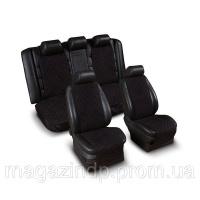 Накидки на сиденье «Эко-замша» узкие (комплект) без лого, цвет черный Код:639926557|escape:'html'