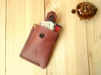 Кожаный карт-холдер Дощ MENCHUL, коньячный|escape:'html'