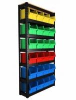 Стеллаж складской с 700 пластиковыми ящиками ЦВЕТНЫЕ