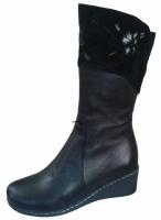 Зимние женские сапоги с вышитым цветком, подойдут на узкую ногу, женские зимние сапоги больших размеров|escape:'html'