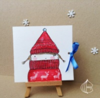 Новогодняя открытка ручной работы девочка в шапке escape:'html'