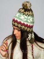 Женская шапка-ушанка - 92166/KHAKI Код:4370