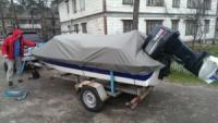 Тент на лодку Прогресс 4 .материал KORDURA 1000D серый. С бесплатной доставкой.