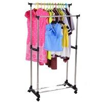 Вешалка стойка для одежды напольная Двойная телескопическая Double Pole Clother Hose