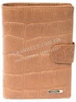 Мужской классический бумажник портмоне с натуральной матовой кожи под крокодила SALFEITE art. 2176T-F19 песочн|escape:'html'