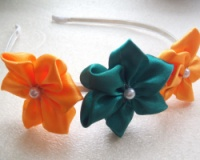 Обруч «Зелено-оранжевые цветочки»|escape:'html'