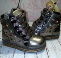 Деми ботинки Камни серебро на флисе шнуровка и молния