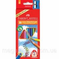 Карандаши цветные Faber_Castell 116510 10цветов треугольные+точилка Junior картонная коробка с подвесом Код:401625478|escape:'html'