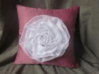 Подушка ручной работы «Белая роза» by designer Na.Ro.