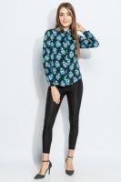 Блузка женская насыщенный цвет  AG-0005358 Черно-голубой