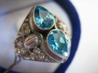 Серебряное кольцо 925 НАТУРАЛЬНЫЕ БРАЗИЛЬСКИЕ ТОПАЗЫ размер 17,5|escape:'html'