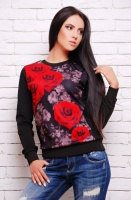 Кофта«Sweatshirt» KF-1273fl Чёрно-красные розы, чёрный|escape:'html'