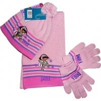 Набор: шапка, шарф и перчатки детские розовые «Даша следопыт (Дора)», бренд «Dora Nickelodeon»|escape:'html'