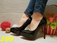 Женские туфли лодочки на платформе черные с красной подошвой, р.36,38,39