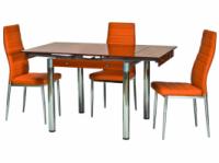 Стол стеклянный раскладной ТВ21 оранжевый 80/130*65*75 см|escape:'html'