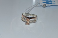 Кольцо серебряное с золотыми напайками|escape:'html'
