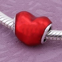 Шарм В моем сердце Пандора (In my Heart) Pandora серебро 925 проба сердце красное|escape:'html'