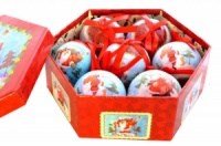 Набор пластиковых шаров в подарочной упаковке Веселый Дед Мороз 7 шт, 7,5 см.