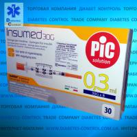 Шприцы инсулиновые INSUMED 0,3 мл, 1/2 ед., U-100 30G, длина иглы 8 мм, 30 шт. в упаковке escape:'html'