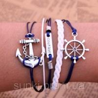 Винтажный кожанный браслет на руку Море|escape:'html'