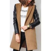 Женское пальто рукава кожа, кашемировое пальто, жіноче пальто escape:'html'