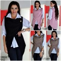 Оригинальная блуза двойка блузка кофта безрукавка из ангоры с брошкой|escape:'html'
