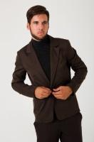 Пиджак мужской, стильный, на одной пуговице AG-0000170 Темно-коричневый