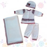 Комплект детский (комплект и покрывало) в подарочной коробке (70% шерсть, 30% акрил) р. 56, 62 ТМ Фламинго