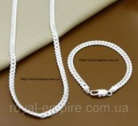 Набор «Артур», покрытие серебро 925 пробы, (браслет + цепочка) escape:'html'
