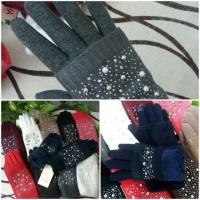 Теплые зимние перчатки митенки на меху Бусины